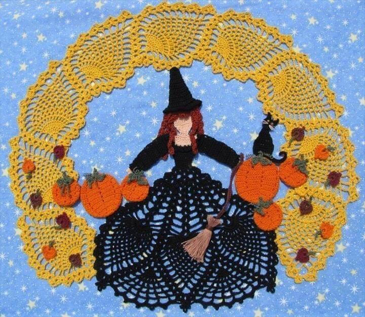 free crochet pattern halloween doily