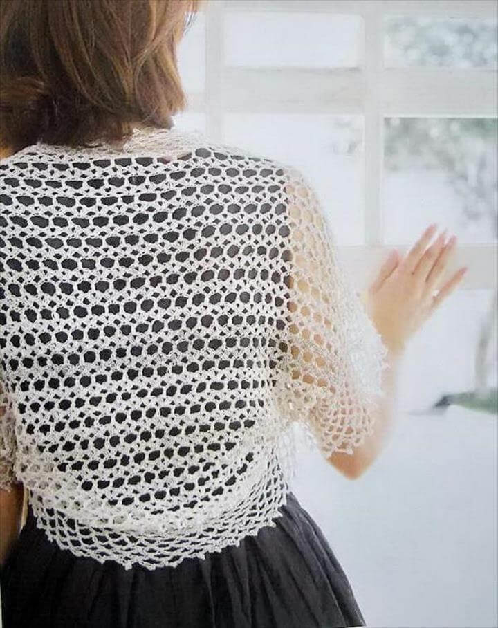 Crochet Pattern Of Simple Lace Shrug Bolero