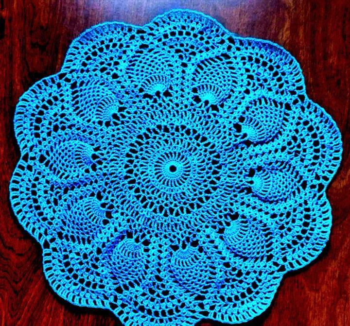 Blue crochet doily design