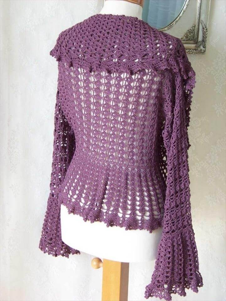 crochet pattern purple shrug