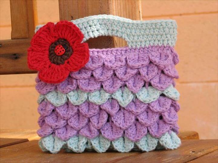 Girls Bag / Purse with Large Flower , Crochet Pattern PDF