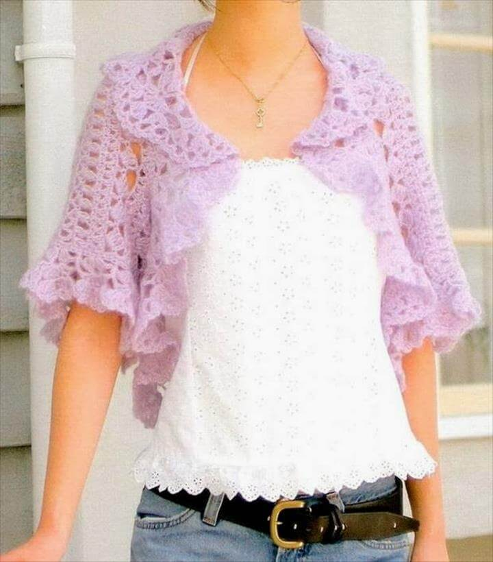 20 simple crochet shrug design diy to make for Designer bolero