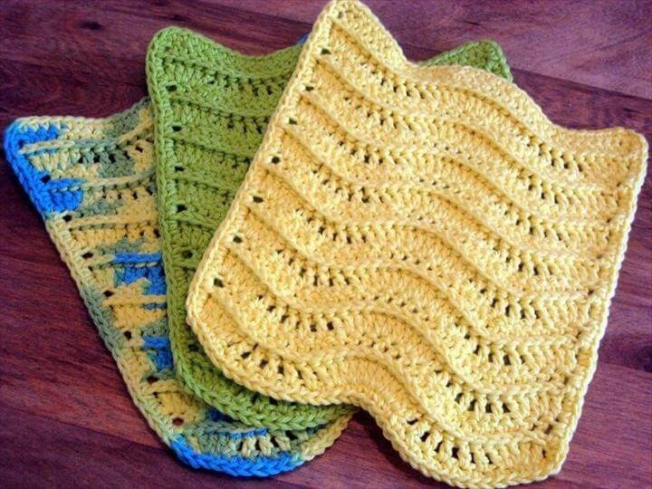 PDF CROCHET PATTERN, 3-d Waves Textured Dishcloth Washcloth, Wavy Kitchen Rag, Dish Cloth, Bathroom Wash Cloth, Towel,