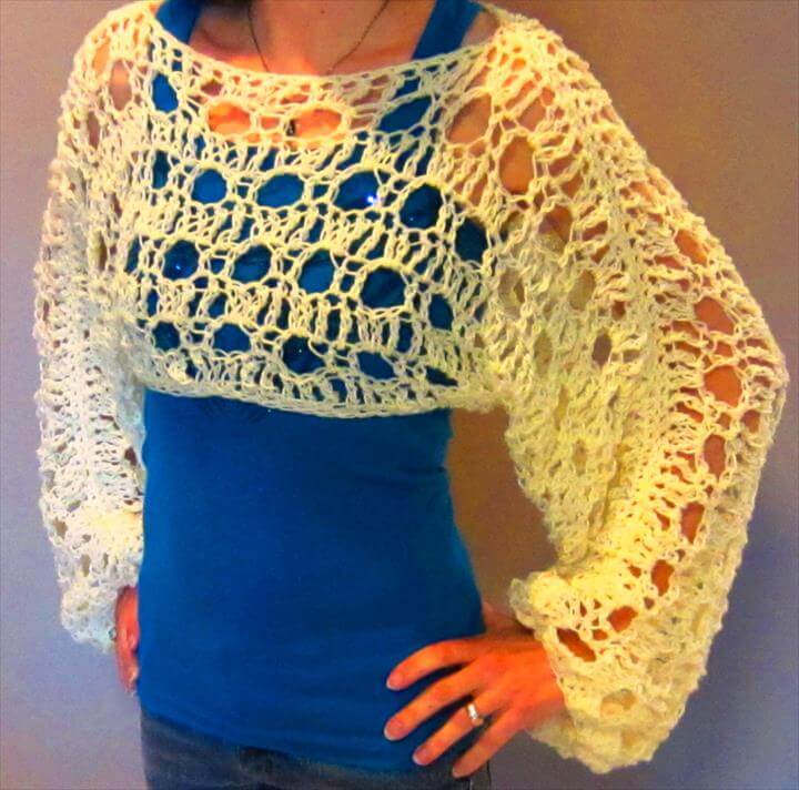Free Crochet Pattern Cropped Sweater : 30 Easy To Make Crochet Simple Shrug Ideas DIY to Make