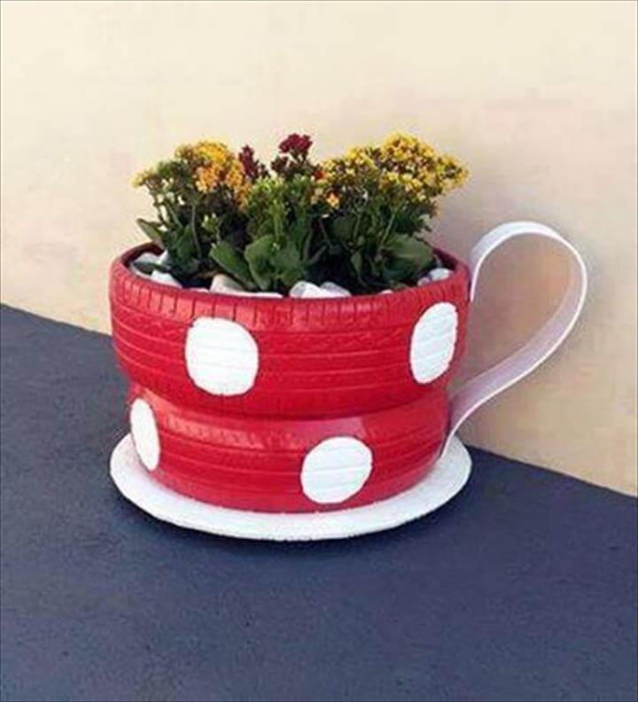 Recycle Tire Cup Pot