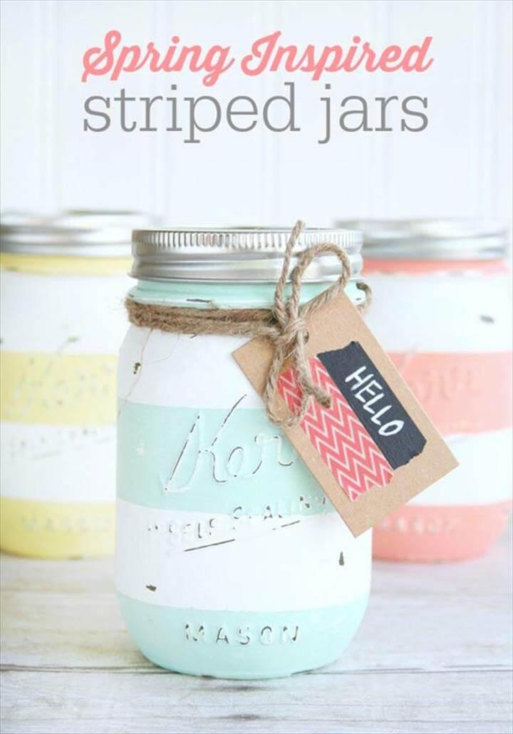 Cute DIY Mason Jar Ideas - Distressed Striped Mason Jar Vase - Fun Crafts, Creative