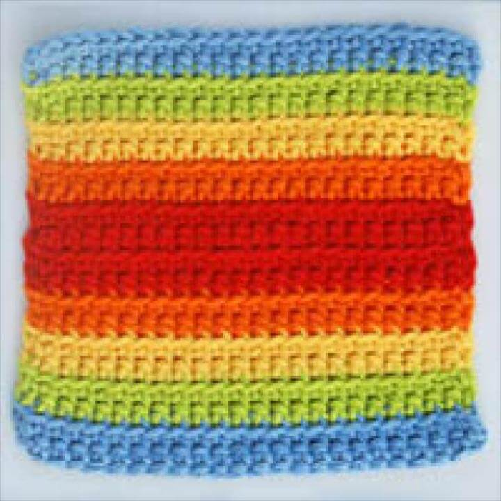 Double Rainbow Crocheted Square -- Easy Crochet Project Made Using Scrap Yarn - Double Rainbow