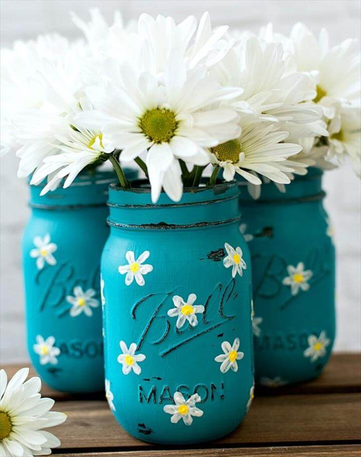 Jars, Painting Mason Jars and Mason Jar Crafts, Painted Mason Jars with Daisies