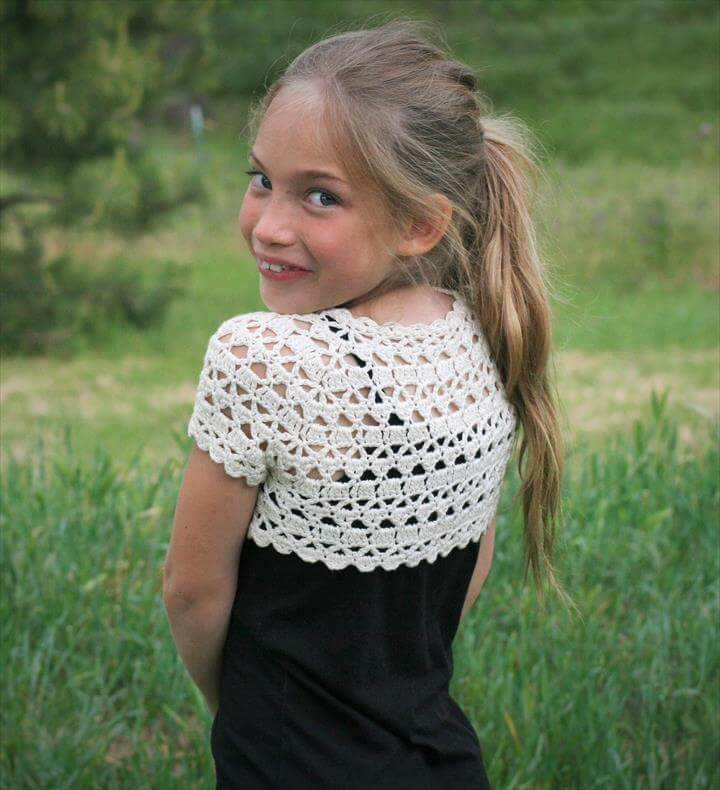white crochet shrug