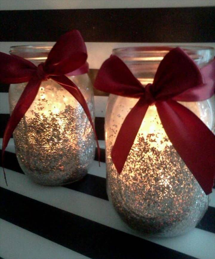 Glitter Mason Jar Candle holder