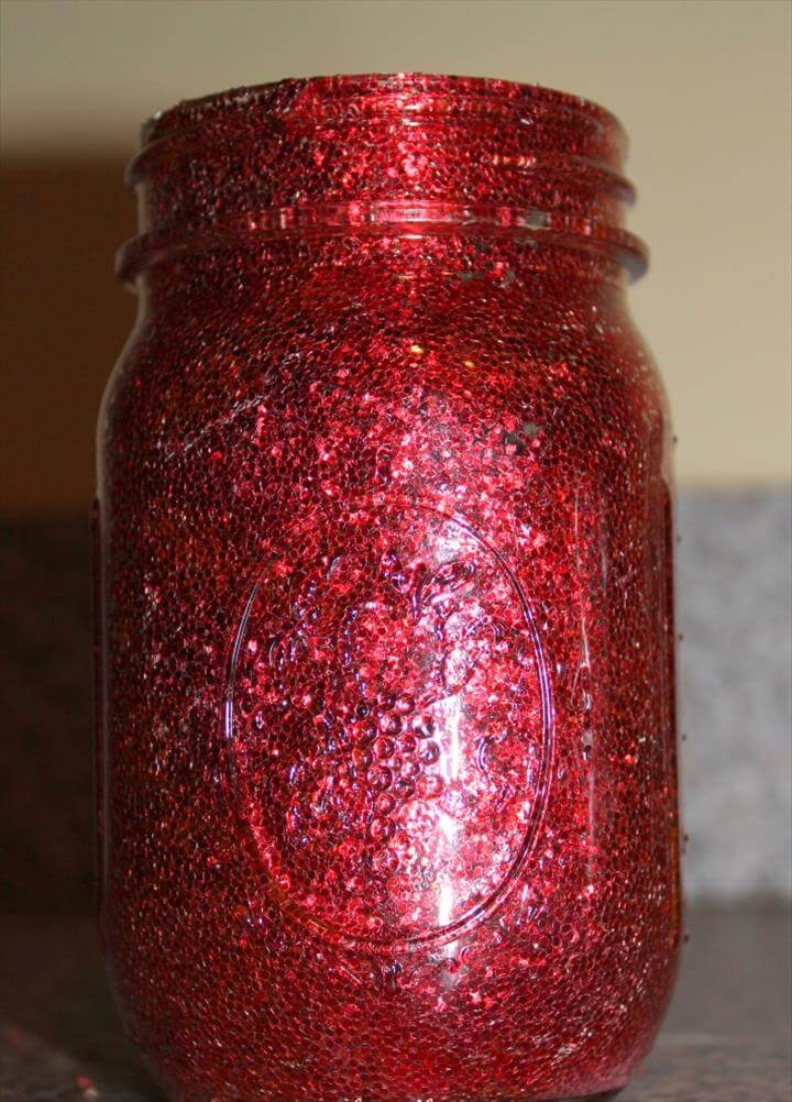 glitter mason jar