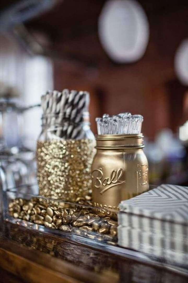 Cute! Straw & Stirers in a jazzed up mason jar