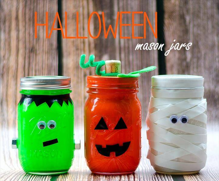 Mason Jar Craft Ideas for Halloween: Pumpkin, Mummy, Frankenstein Jars