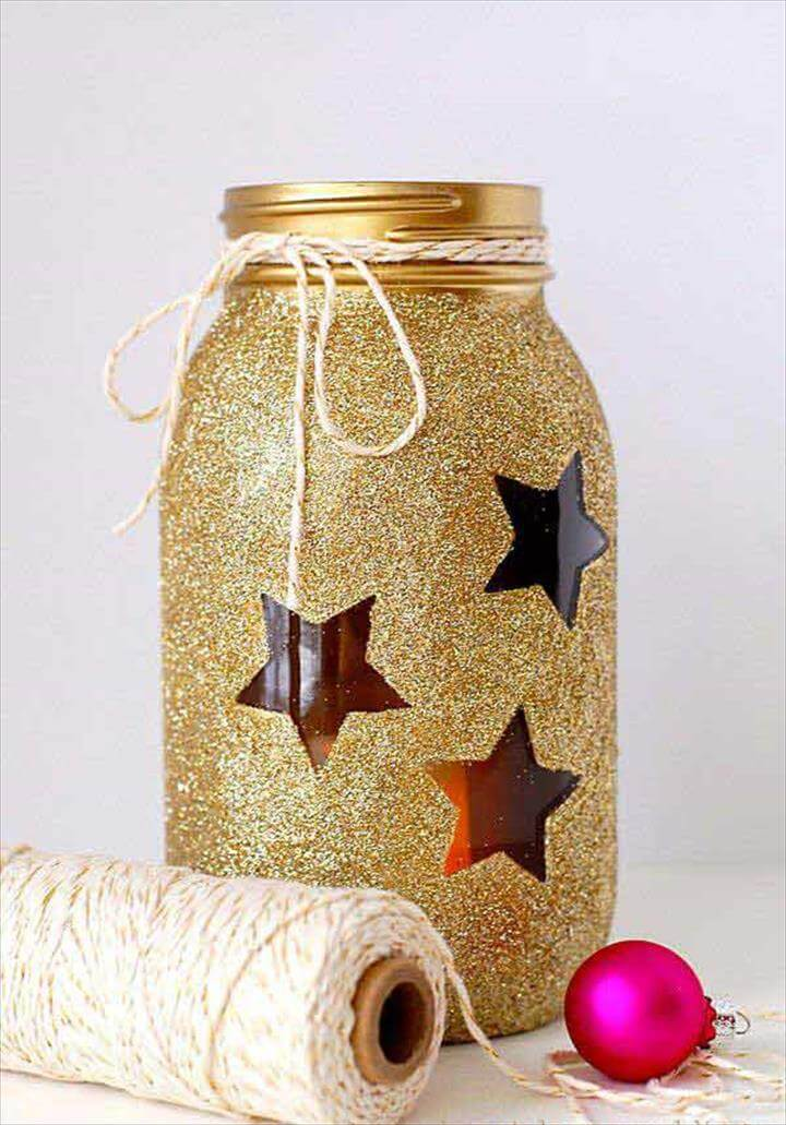 DIY gold glitter stars jar.