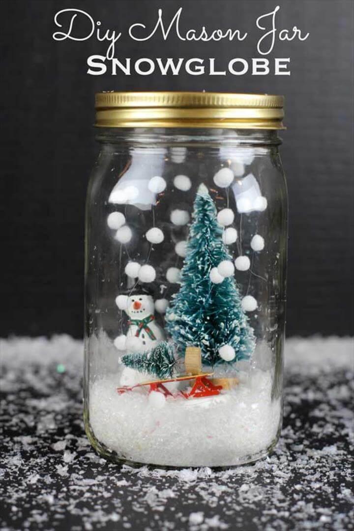 snow mason jar