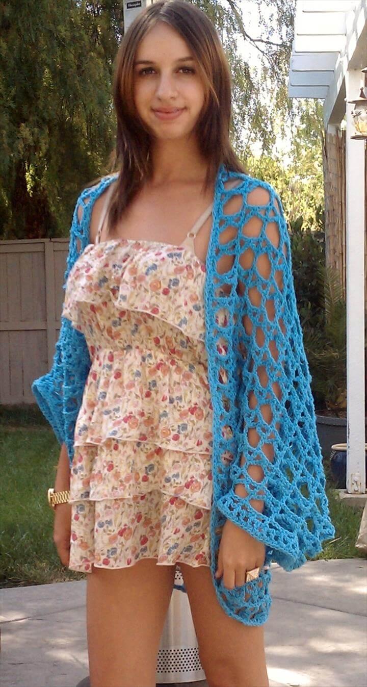 blue crochet shrug