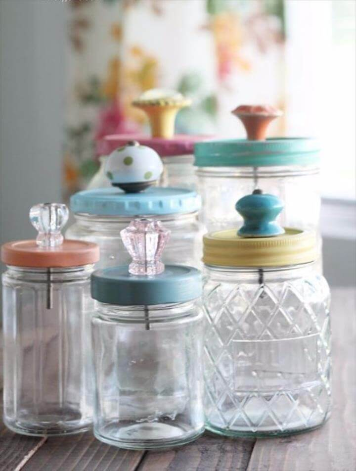 Mason Jar Storage Containers With Knobs – Upcycle Jar Idea., Mason Jar Crafts You Can Make In Under an Hour - Upcycled Mason Jar With Pretty