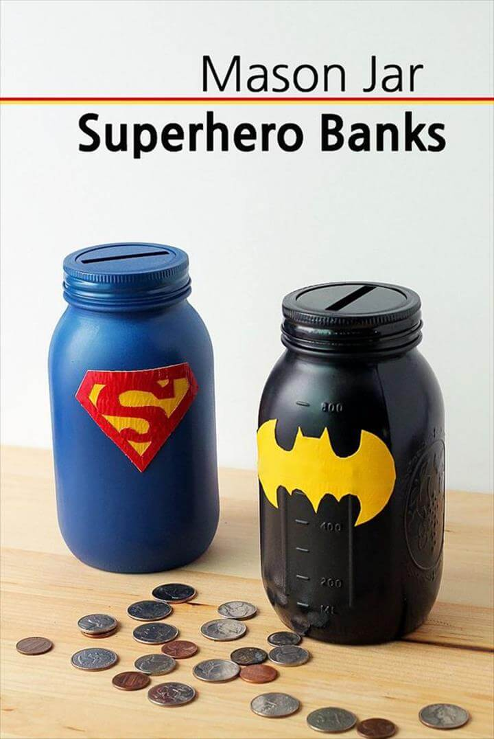 Mason Jar superhero banks! Great craft projects for kids