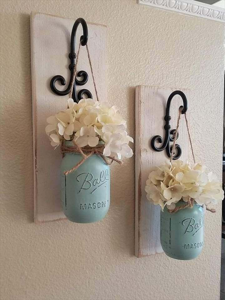 Mason Jar Wall Decor Country Chic Wall, Mason Jar Wall Decor, Country Chic Wall Decor, Hanging Mason Jar Sconce, Mason Jar Decor, Mason Jar Wall Sconce, Rustic Housewarming Gift