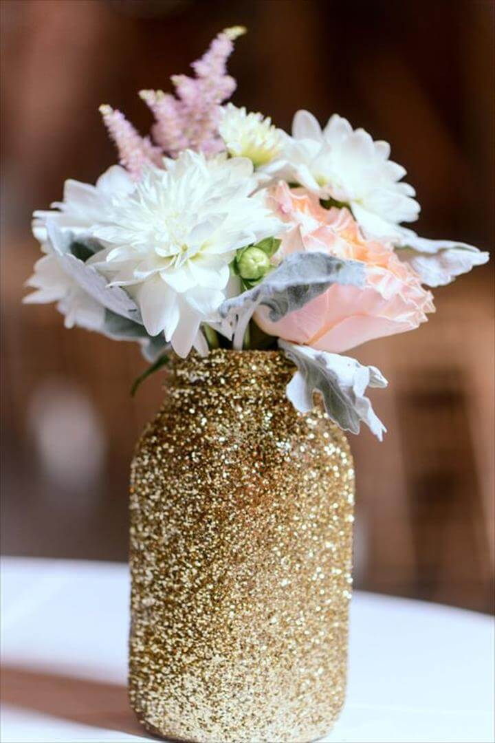 Glittering Mason Jar Arrangement, Glitter Mason Jar For Bouquets During The Reception - Could Make Your Own Following This Tutorial