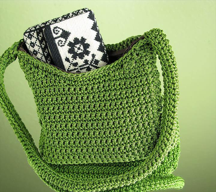 green crochet bag