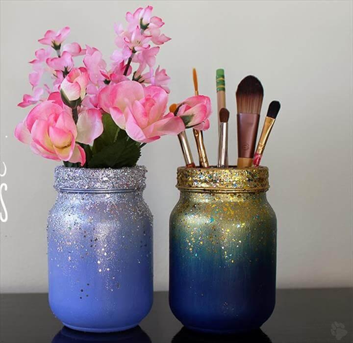 DIY ombré glitter mason jars