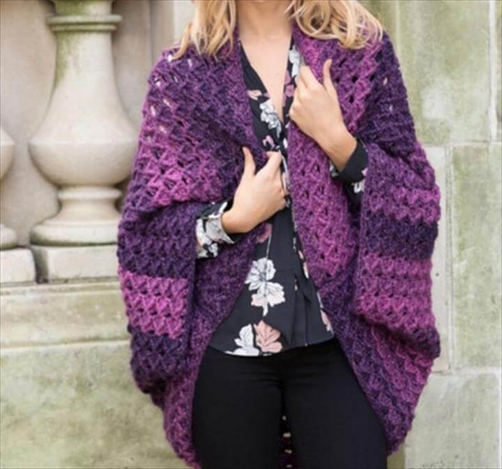 Oversized Crochet Shrug - Red Heart Colossal Crochet Shrug Free Pattern
