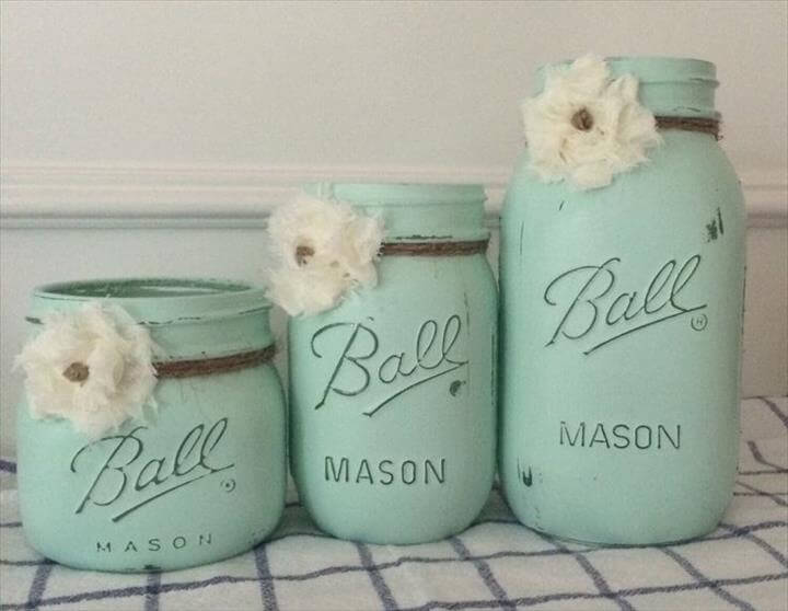 Painted Mason Jar Set. Painted soft mint green with twine and shabby chic flowers, Painted Mason Jar Set. Painted soft mint green with twine and shabby chic flowers