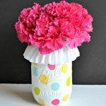Cute DIY Mason Jar Ideas - Polka Dot Mason Jar Vase - Fun Crafts, Creative