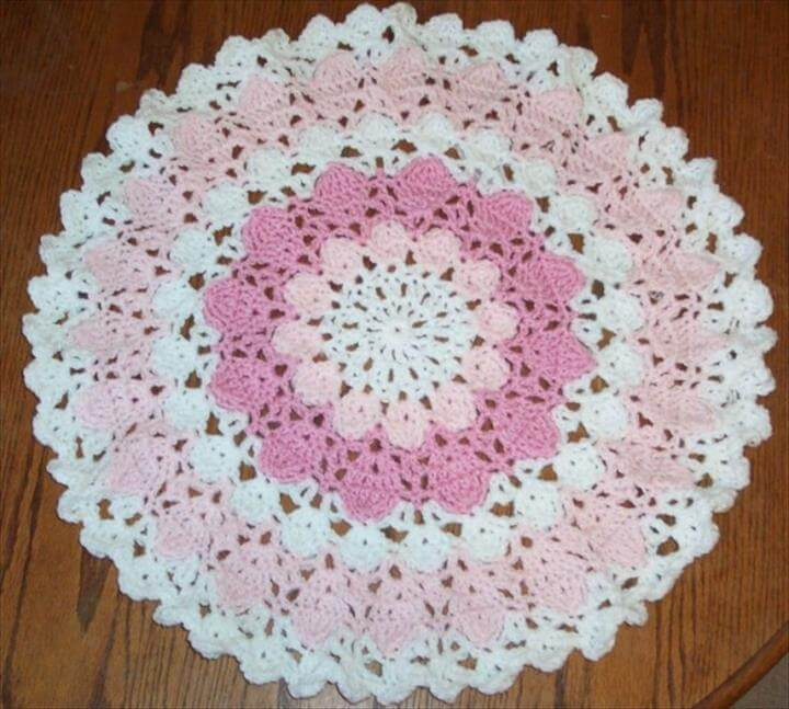 white, pink and light pink crochet doily