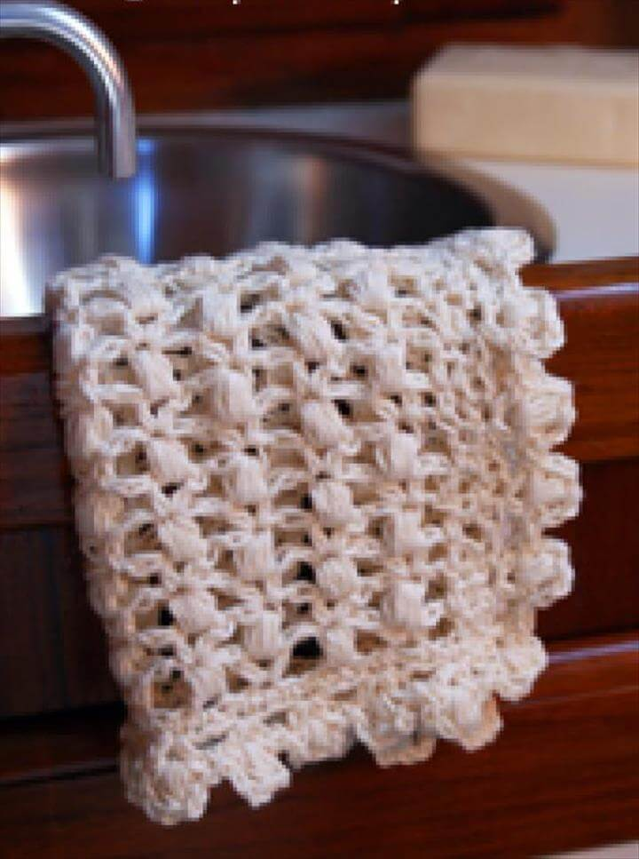 Puff Stitch Lace Crochet Dishcloth Pattern