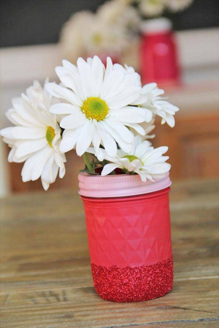 So simple. red glitter mason jar vase ...