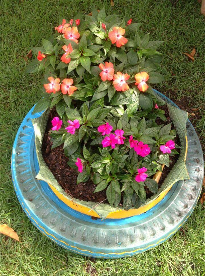 recycled tires gardening,