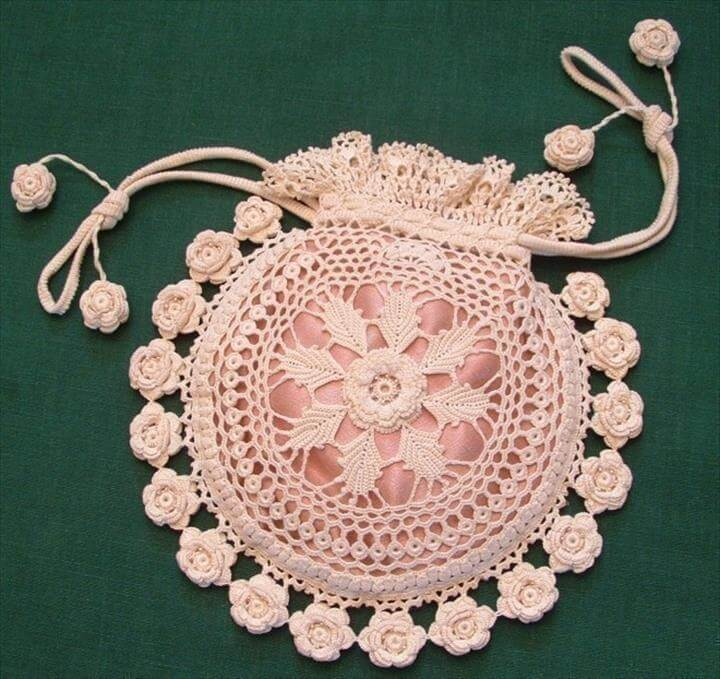 Rings and Roses Irish Crochet Purse Pattern