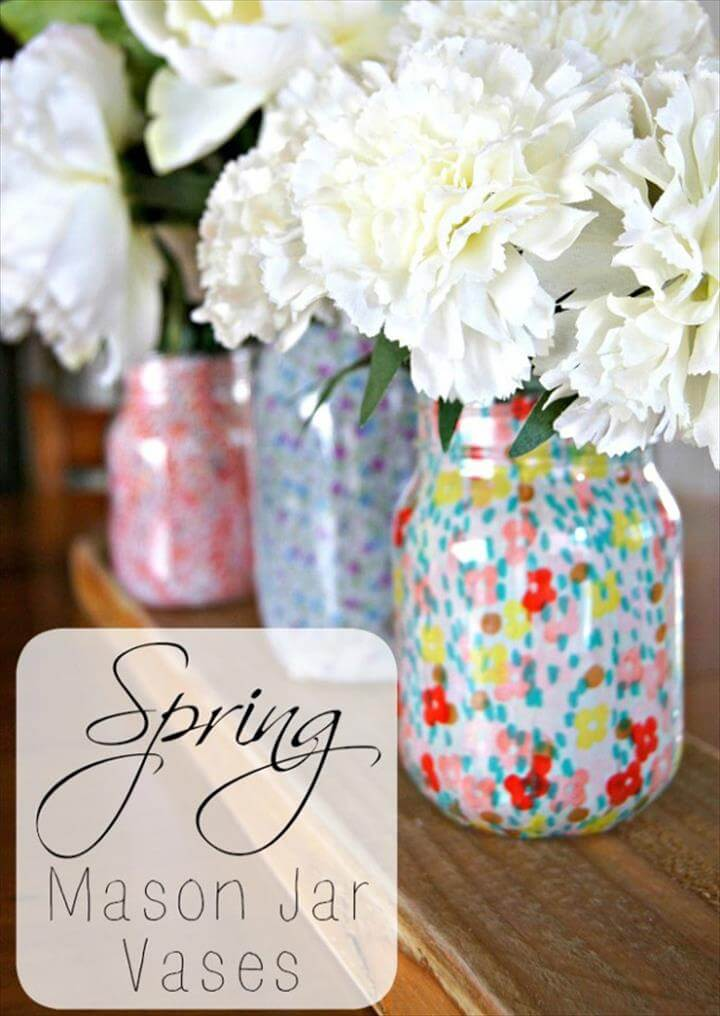 Cute DIY Mason Jar Ideas - Spring Mason Jar Vases - Fun Crafts, Creative Room