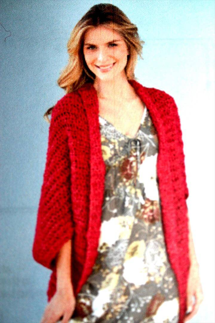 crochet red shrug