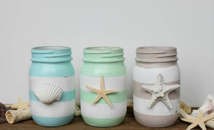 Nautical Mason Jars Tutorial, Spring Inspired DIY Mason Jars