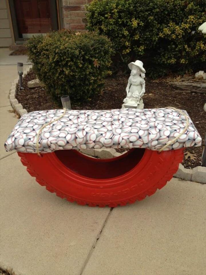 A big tractor tire could be reused into a cool garden bench!