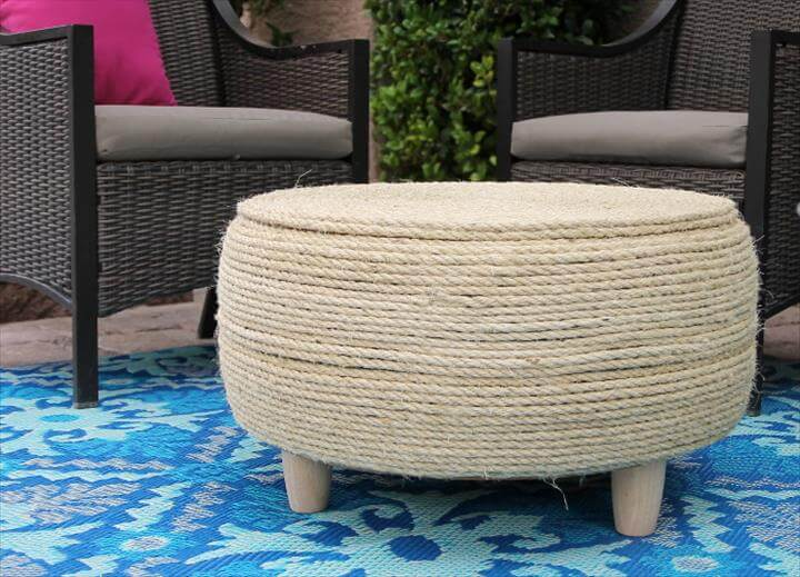 DIY Tire Coffee Table - turn an old tire into a coffee table