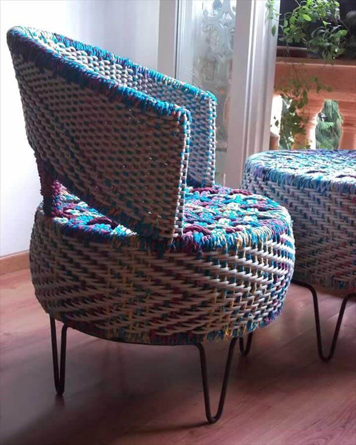 Colorful tyre furniture