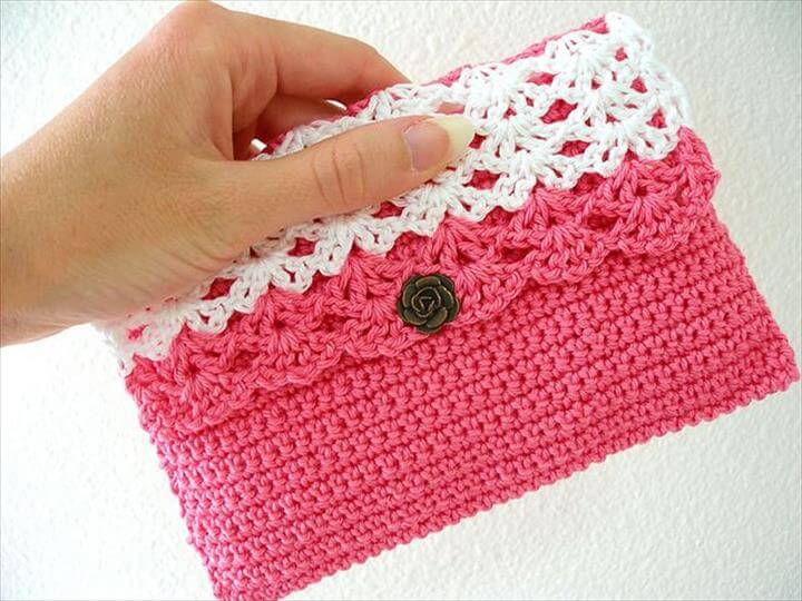 white lace crochet purse