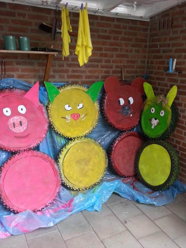 diy upcycling animal tires rubbit tire bear reused tire idea cute old tires idea warning drivers
