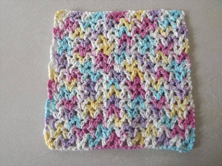 colorful crochet dishcloth