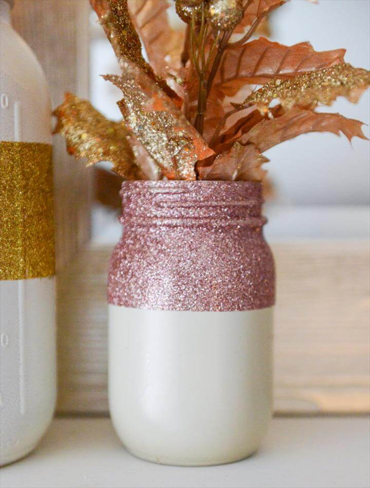 DIY Glittery Winter White Mason Jars