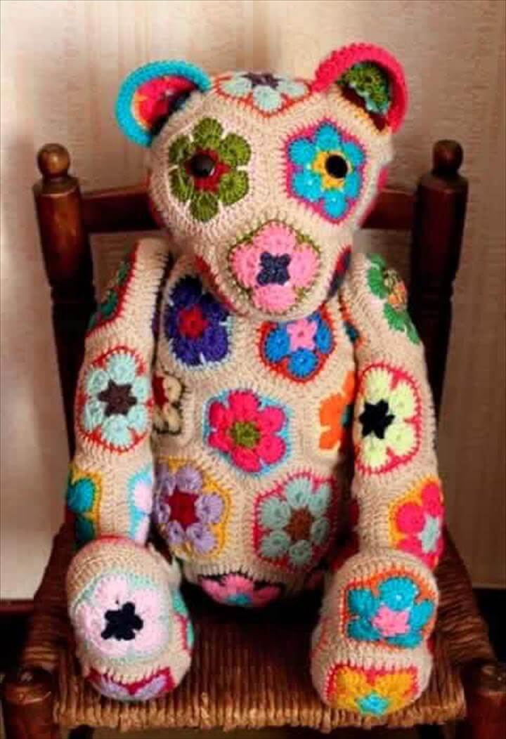 African Flower Crochet Bear