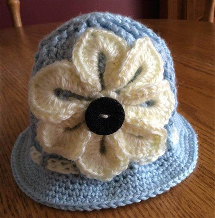 Baby Crochet Panama Hat, Clouche hat, Easter Hat, Flower Hat, Spring Hat