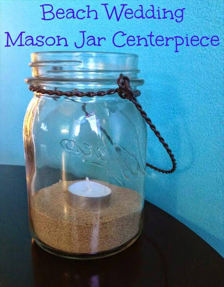 Beach Wedding Mason Jar Centerpieces