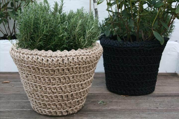 crocheted plant crochet planter knitted pot crochet baskets macrame .