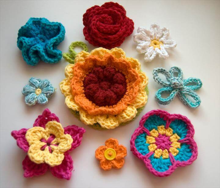 Nine colorful crochet flowers