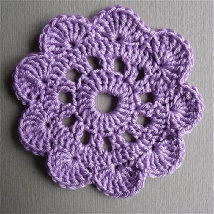Crocheted Big Flower-coaster